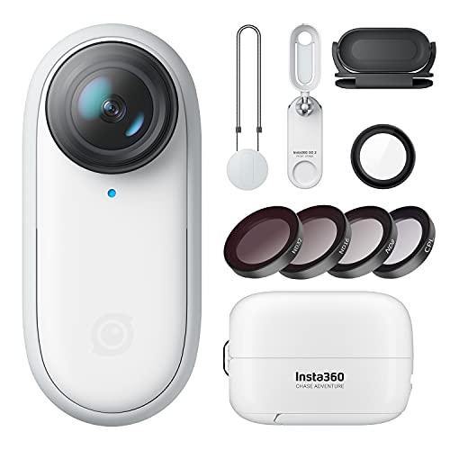 Insta360 Go 2 wasserdichte Action-Kamera mit Multifunktions-Hülle (Lade-/Fernbedienung/Stativ) für YouTube Vlog Instagram mit CPL & ND Filter-Kit
