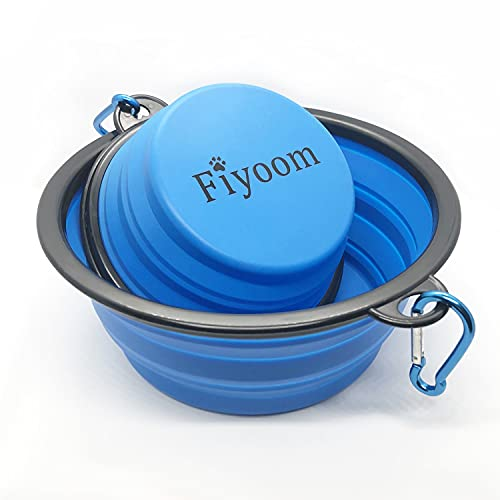 Fiyoom Collapsible Travel Dog Bowls with Lid,Blue 2 Pack Large and Small with Carabiner Clip,Portable Silicone Pet Feeder Travel Water Bowl for Dog/Cat Food Water Feeding