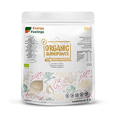 Energy Feelings Proteina Vegana Ecológica | 80% Proteína | Proteína Sabor Neutro - Sin Sabor | con Proteína de Arroz, Cáñamo y Guisante | Rica en BCAA | 100% ecológica | Sin Gluten | 500g