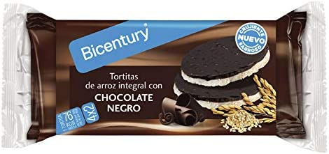 Bicentury Tortitas Nackis Arroz Integral con Chocolate Negro, Pack de 4 x 32.6g