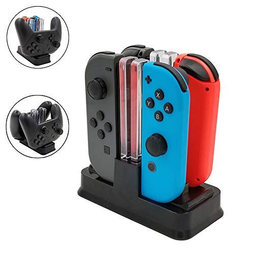 Betapleon Nintendo Switch Pro用コントローラーとJoy-Con充電器 両用充電ステーション 指示ランプあり 4 in 1機能 ブラック