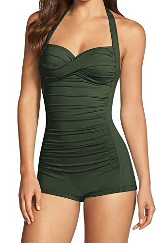 Women's Halter Ruched One Piece Bathing Suit Tummy Control Swimwear Army Green L