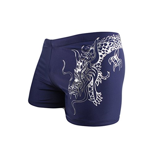 HHD® Costume da Bagno Uomo Elastico Slim Leisure Travel Short Pantaloncini da Surfe, per Nuoto Spiaggia Mare Piscina Boxer Slip Pantaloncini Calzoncini Mutande - Uomo Blu L