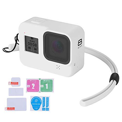 LARRITS Silikon Schutzhülle Gehäuse+ Silikon Lanyard + Glas Displayschutzfolie und Objektivschutzfolie für GoPro Hero 8 Black