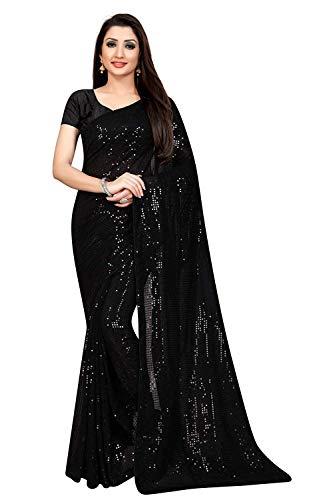 Tilki Women's Plain Weave Pure Georgette Saree With Blouse Piece (5mm seqence black_Black)