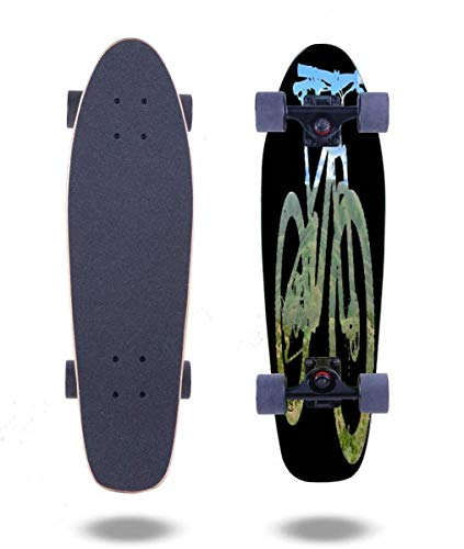 """OPNERLKNC Cruiser Skateboards Mountain Bike Mountain and Sky MTB Collection 003 27""""x7.5"""" 7 Layer Canadian Maple Complete Standard Short Skateboard for Boys Beginners Girls Kids Teens Adults"""