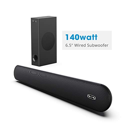 """140W 2.1 Channel Sound bar with 6.5"""" Wired Subwoofer, BYL Soundbar Bluetooth 5.0 Speaker for TV & Home Theatre System"""