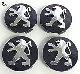 X4 - Coprimozzo in lega di alta qualità, 60 mm, colore: nero, cromato, con logo centrale e centrale, per 106 107 206 207 306 307 506 507 108 208, 60 mm