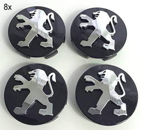 X4 Lot de 4 cache-moyeux en alliage de haute qualité pour Peugeot 106 107 206 207 306 307 506 507 108 208 - Noir - 60 mm