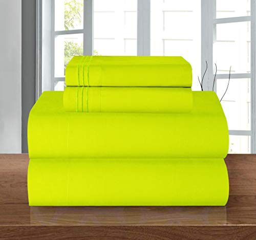 Elegance Linen 1500 Thread Count Wrinkle Resistant Ultra Soft Luxury 4 pcs Bed Sheet Set, Deep Pocket Up to 16' - Many Size and Colors, Queen, Lime