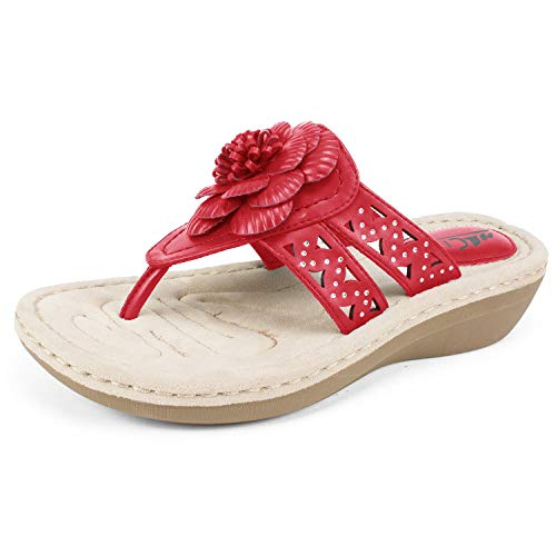 Cliffs by White Mountain Cynthia Women's Thong Sandal, Berry Red/Smooth, 6 M