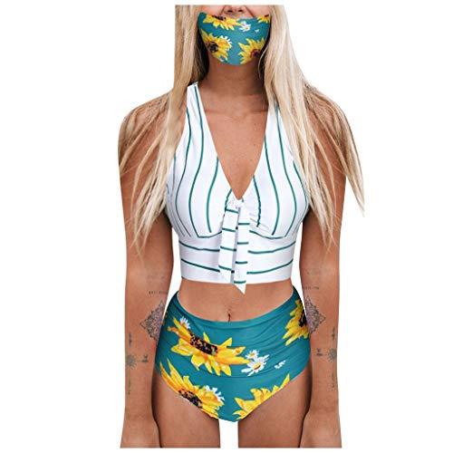 HoSayLike Traje De BañO De Mujer Push-Up Acolchado Conjunto De Tres Piezas Raya Cubrir Girasol ImpresióN Talla Grande Bikini Adecuado Viajes Playa La Natacion (L)