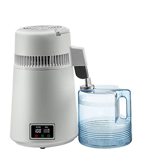 Destiladores De Agua De 4 L De Acero Inoxidable 304 Con Temperatura Ajustable Con Botones De Doble Pantalla, Purificador De Filtros De Destilación De Agua Pura De 750 Vatios