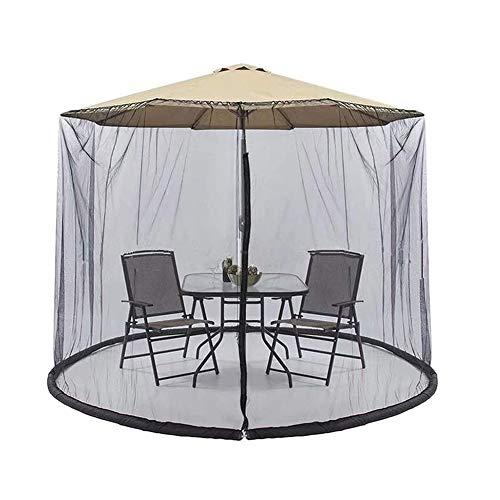 JIASHU Mosquitera para sombrilla de Patio, Malla de mosquitera para Mesa al Aire Libre, con Puerta con Cremallera, Altura y diámetro Ajustables, para Evitar la Entrada de Mosquitos