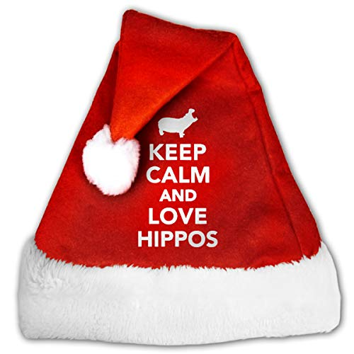 BAGR, Cappello di Babbo Natale Unisex per Feste, Eventi, Keep Calm And Love Hippos cap per Adulti...
