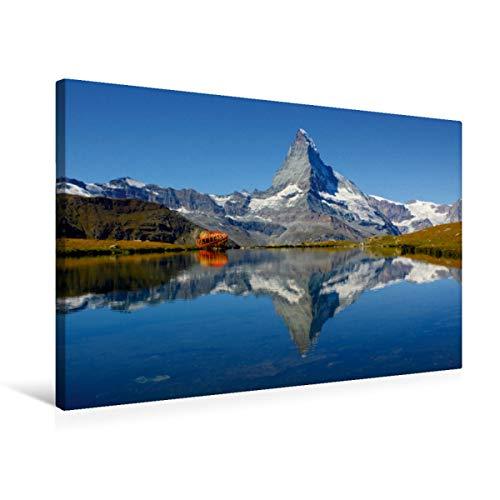 CALVENDO Premium Textil-Leinwand 75 cm x 50 cm quer, Spieglein, Spieglein.Das doppelte Matterhorn | Wandbild, Bild auf Keilrahmen, Fertigbild auf echter Sunegga/Zermatt. Schweiz Natur Natur