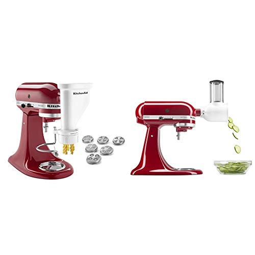 KitchenAid KSMPEXTA Gourmet Pasta Press Attachment with 6 Interchangeable Pasta Plates, White & Fresh Prep Slicer/Shredder Attachment, White