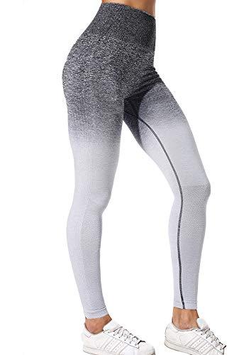 FITTOO Mallas Leggings Mujer Pantalones Deportivos Yoga Alta Cintura Elásticos y Transpirables Gris S&M