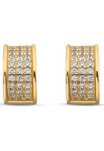 JETTE Silver Damen-Creolen 925er Silber 66 Zirkonia One Size Gold 32010626