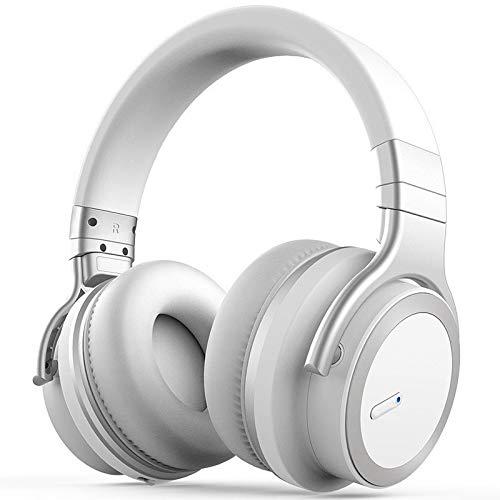 OIUYT Headset Bluetooth actieve noise cancelling hoofdtelefoons muziek draadloze telefoon subwoofer headset for pc (Color : White)