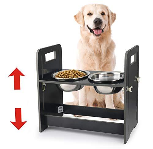 Idepet Ciotole per Cani, Porta Ciotole per Cani Rialzato con Ciotola Inossidabile Altezza Regolabile per Tutti I Tipi di Cani Nero