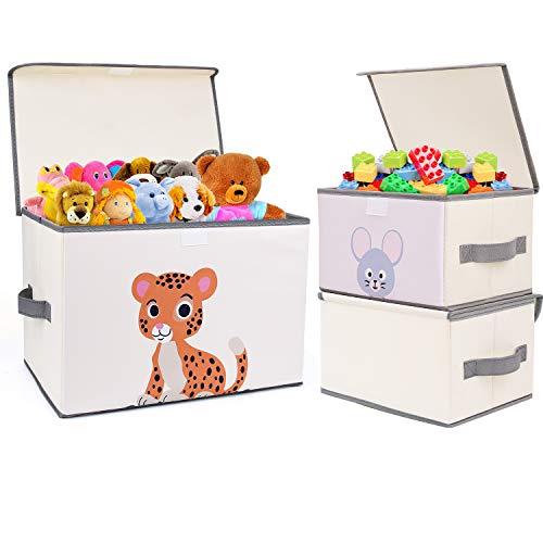 DIMJ Juego de 3 Cajas de Almacenaje Juguetes Plegable, Caja Organizadora de Juguetes con Tapa y Asa, Caja de Tela para Niños (Beige Claro)