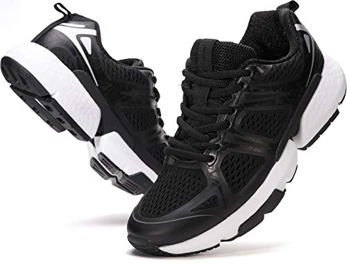 WHITIN Running Black Tennis Shoes for Women Size 8.5 with Arch Cushion Support Stylish Comfort Stability Run Cross Training Trail Walking Athletic Sport Tenis Sneakers Black