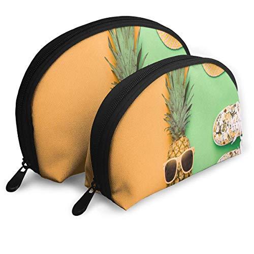 Trousse De Maquillage De Mode Hipster Ananas Tropical D'été Fruits Shell Organisateur De Toilette pour Petite Amie Voyage 2 Pack