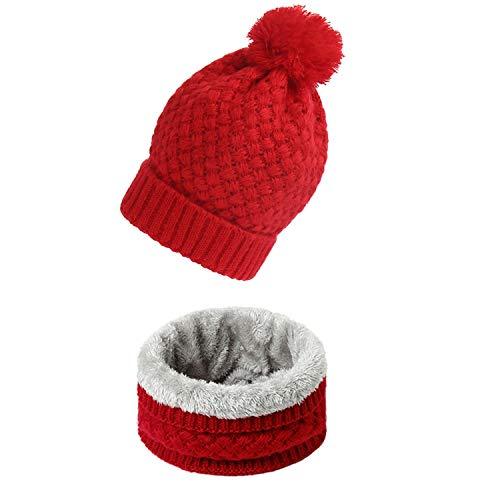 Damen Winter Strickschal Set Snood Neck Beanie Mütze Schals Kaschmir Warme Mütze Wollkragen Schals für Kinder Herren Gr. Einheitsgröße, Wj75-red