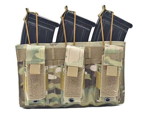 Jffcestore Upgraded Version Tactical Triple Pistol and Rifle Mag Pouch Kangaroo Magazine Pouch Holds M4/M16 Mag Optional Multicam Black Green DE 4 Color(Triple Multicam)