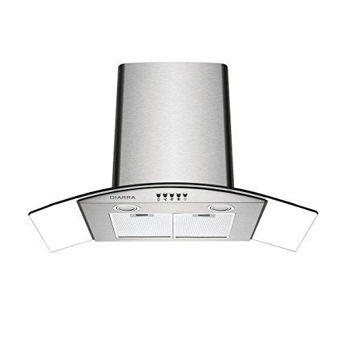 CIARRA ASS9506 Hotte Aspirante 90cm 550 m³/h - 3 Vitesses - Recyclage & Évacuation-LED Éclairage - Hotte Murale Silencieuse Inox