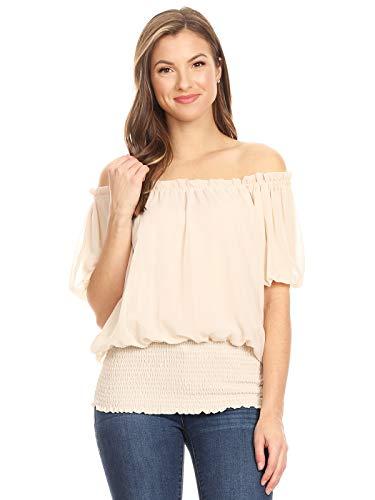 Anna-Kaci Rüschen Puffy Kurzarm Schulterfrei elastische Mittel Smocked Taille Peasant Boho Bluse Chiffon Shirt, S, Beige