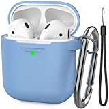 AhaStyle AirPods Case Cover Premium Silicone Protective Cover Skin Accessories [Hand Strap Included] Compatible with AirPods 2 & 1(Sky Blue)