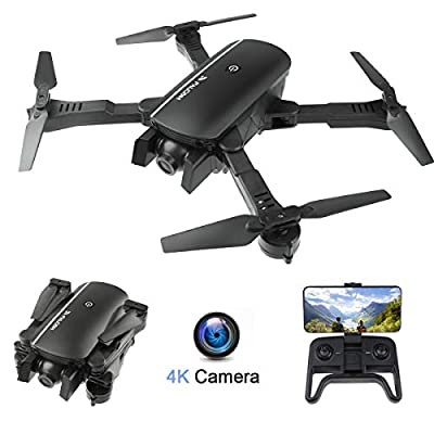 FPV WiFi Drone with 4K Camera Wide Angle Dual Camera Foldable Drone RC Quadcopter with Optical Flow Positioning Altitude Hold Headless Mode Follow Me APP Control Gesture Control Gravity Sensor