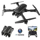 Drone Pliable avec Caméra 4k HD 120° Grand Angle WiFi FPV avec Vol de Trajectoire, 3D VR, Mode sans Tête, 360°Flips et Maintien de l'altitude Maniable pour Les Débutants et Les Enfants