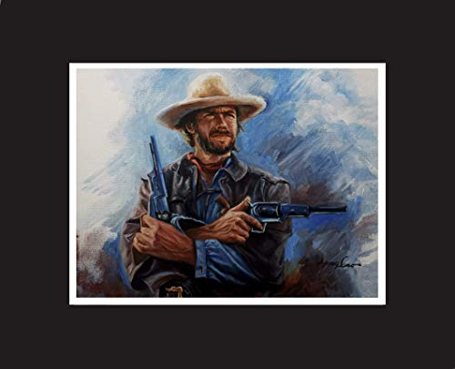 Clint Eastwood, western movie celebrity, oil painting print with mat.