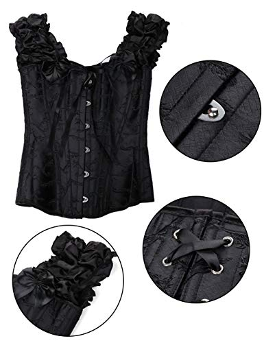 FeelinGirl Women's Gothic Bustiers Corsets Satin Boned Lace Up Overbust Bridal Bodysuit for Halloween 12 Steel Plus Size Without Thong Black L steampunk buy now online