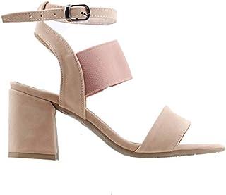 Ayakland 11005-257 Günlük 7 Cm Topuk Bayan Süet Sandalet Ayakkabı Pudra