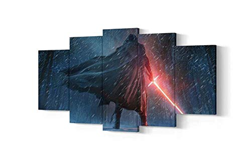 KOPASD Print Painting Canvas 5 Pieces Movie Star wars Kylo Ren Canvas Wall Art Painting for Home Living Room Office Mordern Decoration Gift 200x100 (Unframed)