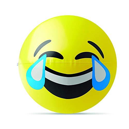 PromotionGift pelota inflable de playa con paneles amarillos y el - risa para llorar - emoticono - amarillo