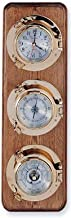 HS Clock, Barometer & Thermometer Brass Porthole Weather Station on Oak Wood Base