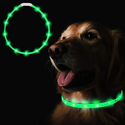 Heatigo LED Halsband Fuer Hunde aufladbar, Night Safety leuchthalsband Hund USB,3-Modus Flicker einstellbare Länge für alle Arten von Hund und Katze Sicherheitskragen geeignet (Grün)