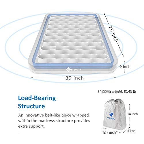 Etekcity Twin Size Camping Air Mattress Blow Up Bed Inflatable Mattress Raised Airbed with Rechargeable Pump for Guest, Camping, Height 9', 1-Year Warranty, Storage Bag