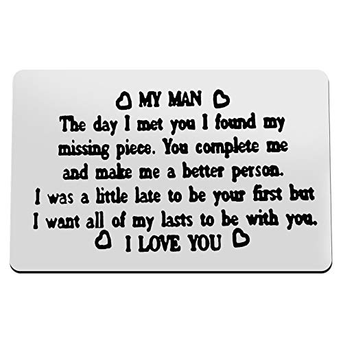 Metal Wallet Insert Card to My Man Gift Anniversary Card Gift for Him Men Valentine