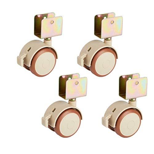 4 Möbelrollen mit U-förmigen Lenkrollen Räder mit Bremsrädern für Kinderbetten Leise Geeignet für Babybett-Schwenkräder Lenkrollen Universalrolle Gummirollen Schwenkrollen (25mm)