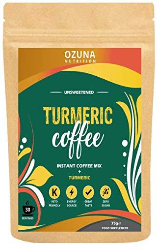 Turmeric Coffee Latte | Instant Golden Milk Elixir Mix Powder | Sugar Free, Low Calorie Vegan Keto Friendly Diet Latte | 30 Servings