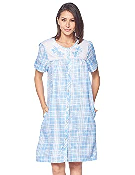 Casual Nights Women s Short Sleeve Snap-Front Lounger Duster House Dress  Plaid Blue X-Large