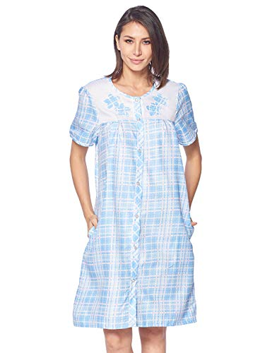 Casual Nights Women's Short Sleeve Snap-Front Lounger Duster House Dress (Plaid Blue, X-Large)