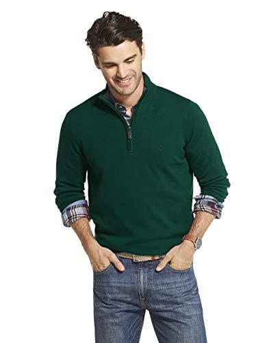 IZOD Men's Premium Essentials Quarter Zip Solid 12 Gauge Sweater, BOTANICAL GARDEN, 2X-Large