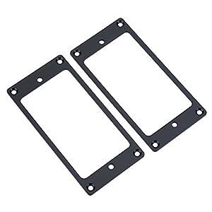 2 Stück Pickup Rahmen, Montage Ringe Metall Humbucker Pickup Cover E-Gitarren Ersatzteile(Schwarz)